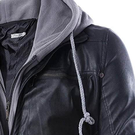 Amazon.com: FORUU Men Leather Autumn&Winter Jacket Biker Motorcycle Zipper Outwear Warm Coat: Clothing