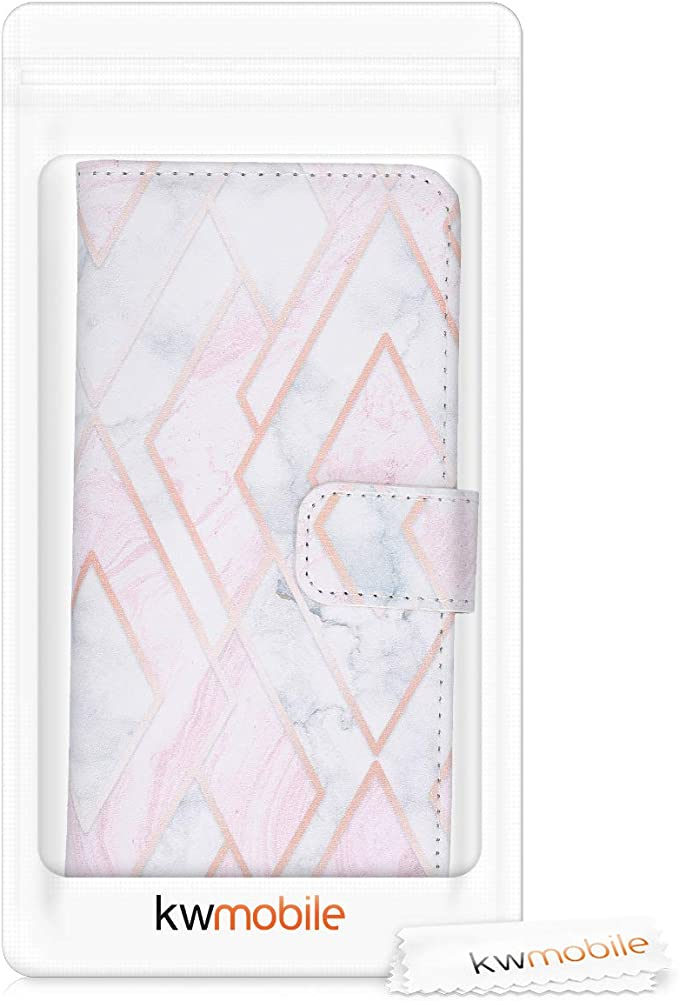 Glory Mix 2 Rose Gold//White//Dusty Pink 2019 kwmobile Wallet Case Compatible with Huawei Y6 - PU Leather Flip Cover with Card Slots and Stand
