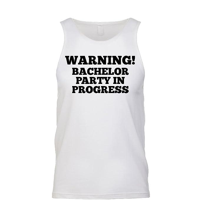 f5baa88a845b0b Amazon.com  Warning Bachelor Party in Progress Men s Tank  Clothing