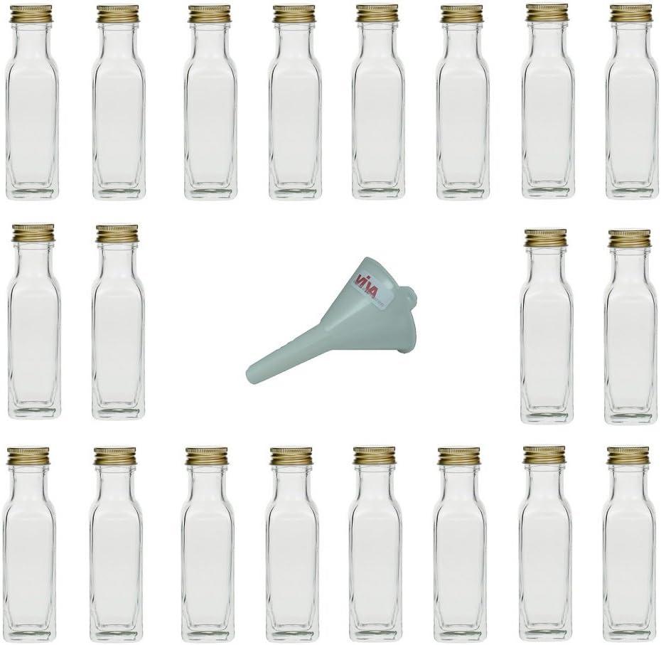 Viva Haushaltswaren - Juego de Botellas de Cristal pequeñas (20 Unidades 100 ml tapón de Rosca rellenables Incluye Embudo Blanco de 5 cm de diámetro)