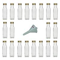 Viva Haushaltswaren 6 Glasflaschen mit Schraubverschluss 250 ml zum Selbstbefüllen inkl. einem weißem Einfülltrichter Ø 7cm