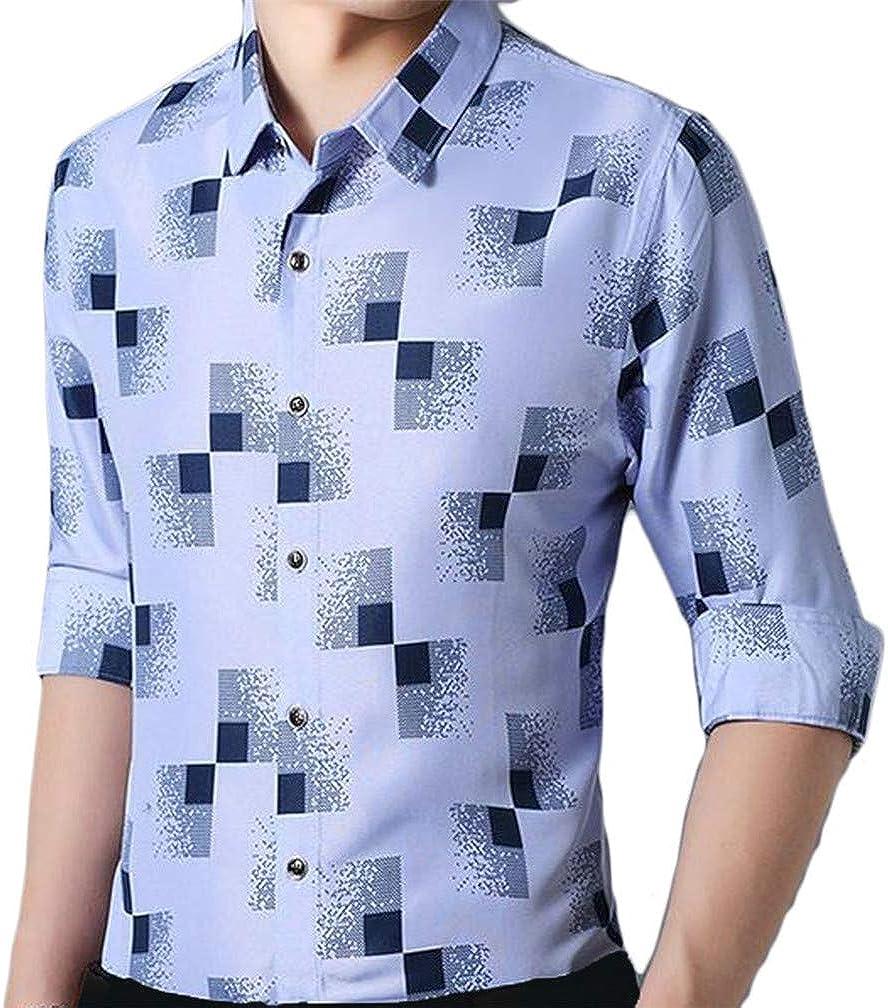 XiaoTianXinMen XTX Men Plaid Long Sleeve Floral Printed Autumn Lapel Neck Button Down Shirts