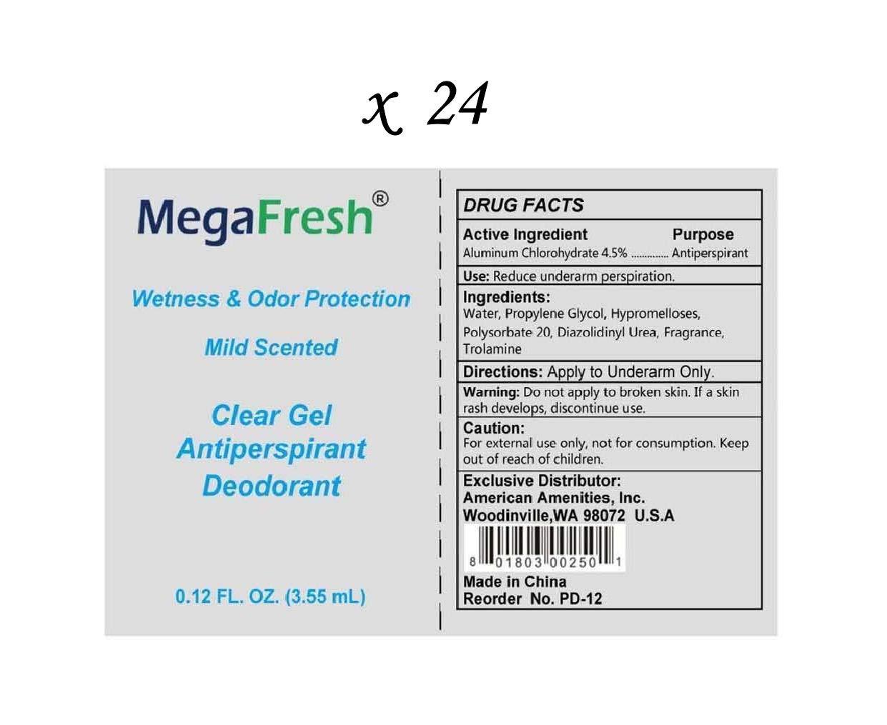 LOT: 24 MegaFresh Travel Size Clear Gel Antiperspirant Deodorant Liquid Packets - 0.12 Oz