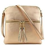 Tassel Zip Pocket Crossbody Bag (Rose Gold)