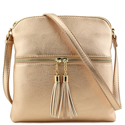 - Tassel Zip Pocket Crossbody Bag (Rose Gold)