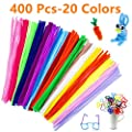 Pipe Cleaners Chenille Stems, 400 Pcs Pipe Cleaners Chenille Stems 20 Colors, 6 mm x 12 Inch DIY Art Craft Decorations Chenille Stems for Arts and Crafts by aHeemo