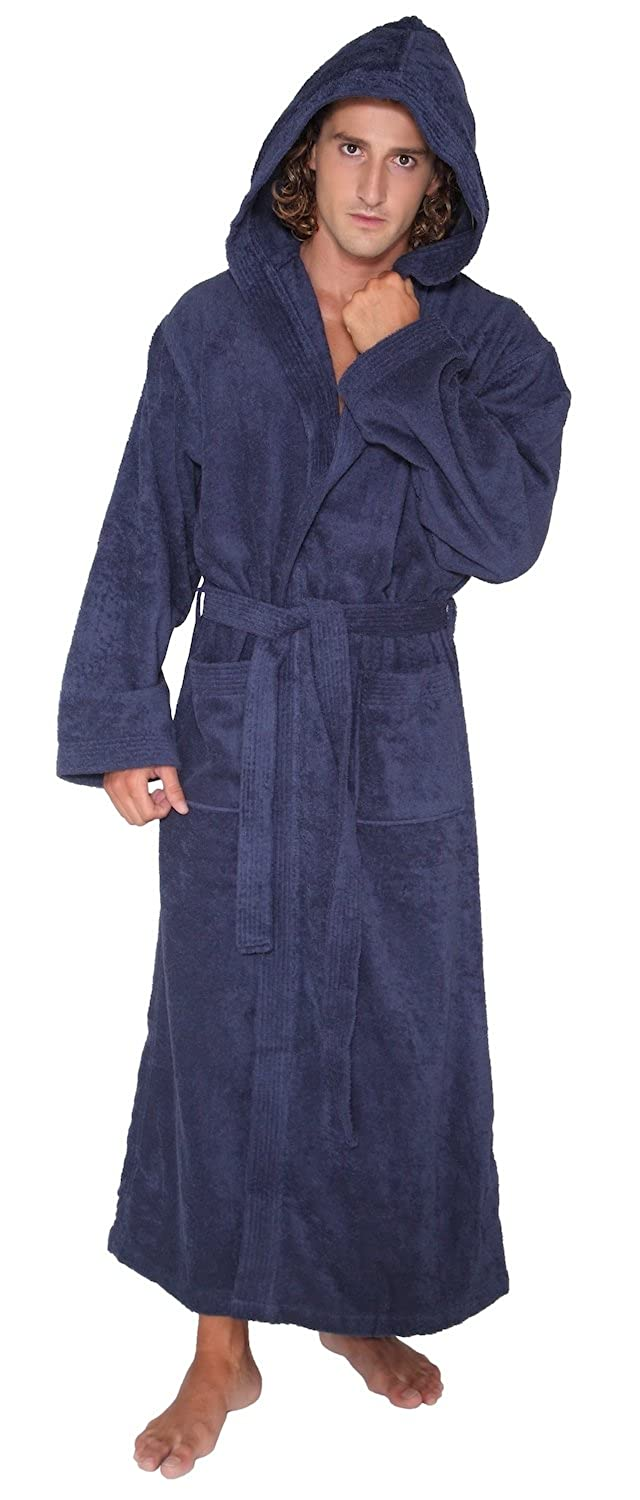 Arus Men's Ankle Length Hooded Turkish Bathrobe