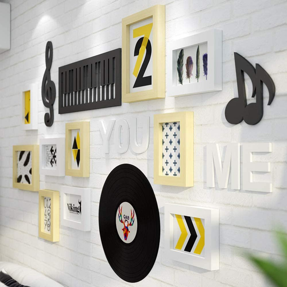 Marcos de cuadros Conjunto de 26, Marco de la música elemento de la foto mural de varias paquete Photo Gallery fijado en pared Kit 8 11.6X15.5Cm adecuados, 2 15.7X20.8Cm Adecuado,Amarillo