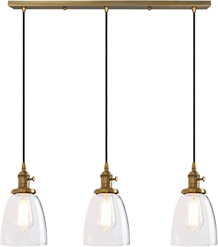 Permo Vintage Rustic Industrial 3-Lights Kitchen Island Chandelier Triple 3 Heads Pendant Hanging Ceiling Lighting Fixture