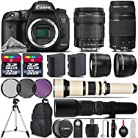 Canon EOS 7D Mark II DSLR Camera + Canon 18-135mm IS STM Lens + Canon 75-300mm Lens + 650-1300mm Telephoto Lens + 500mm preset Zoom Lens + 0.43X Wide Angle Lens - International Version