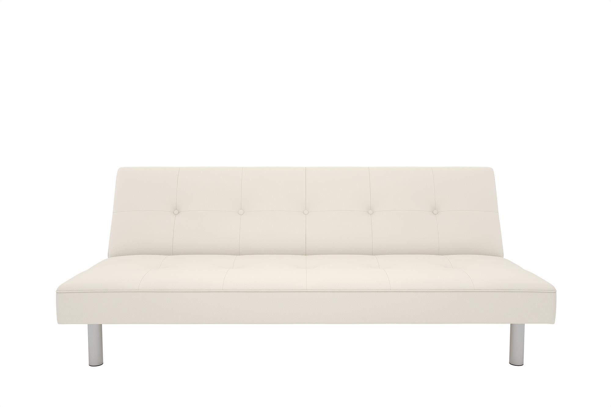 DHP Nola Futon Couch with Tufted Faux Leather Upholstery, Modern Style, White Faux Leather by DHP (Image #4)