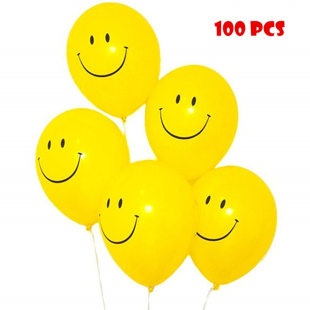 Elloapic 100 Smile Laughing Face Expression Balloons Wedding Holiday Party Celebration Children's Birthday Layout Scene Atmosphere Decorations, Yellow