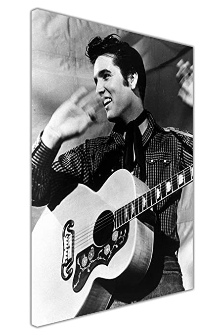 Canvas wall art prints elvis presley and guitar pictures hollywood legends nostalgia black and white