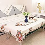 SODIAL Europe Style Wedding Tablecloth Embroidered Floral Lace Edge Dustproof Covers for Table Home Party Table Decoration 85cm150cm