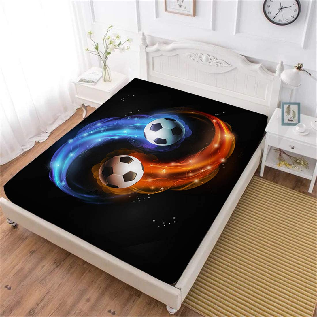 Oliven 3D Sport Bedding Full Size,Galaxy Soccer Ball Fitted Sheet Full Size,Kids Gifts Home Decor 1 Pcs
