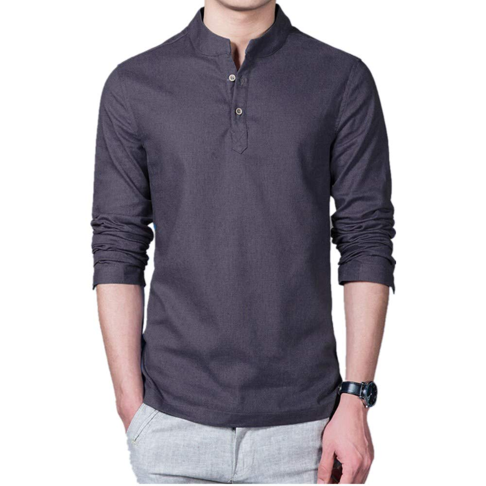 Mens Stand Collar Long Sleeve Henley Shirt Casual Solid Color Raglan Fit Linen Blouse Tops Tee