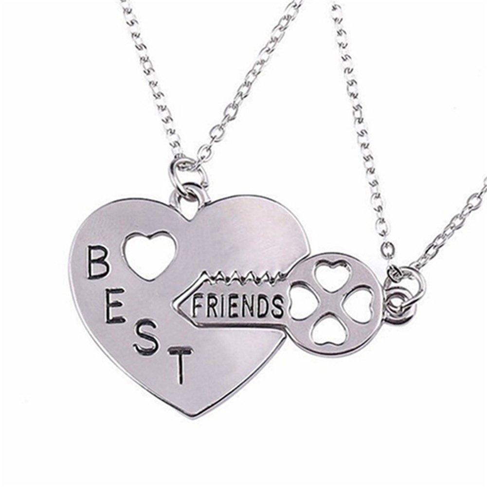 dds5391 2Pcs/Set Love Heart Key Pendant BFF Best Friend Letter Carved Necklace Gift