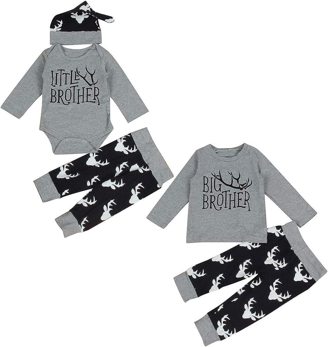 Chennie Niño recién Nacido Baby Boy Hermanos Hermanos Big Brother Little Brother Deer Romper