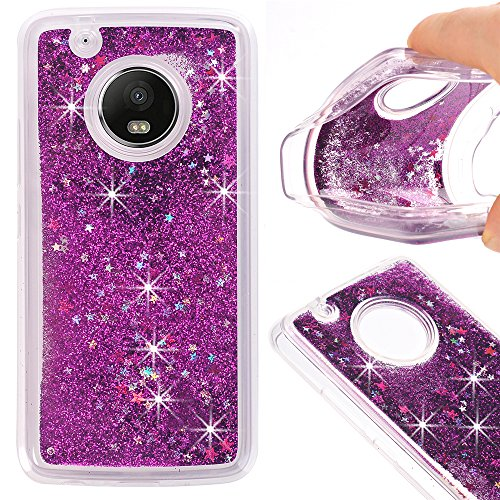 Price comparison product image Moto G Plus (5th Generation) Case,  GreenElec Funny Liquid Quicksand Bling Adorable flowing Floating Moving Shine Glitter Case With Soft Silicone Around Bumper Protection Case
