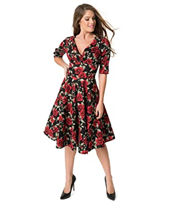 353c8569b Image Unavailable. Image not available for. Color: Unique Vintage 1950s  Black & Red Roses Print Delores Swing Dress with Sleeves