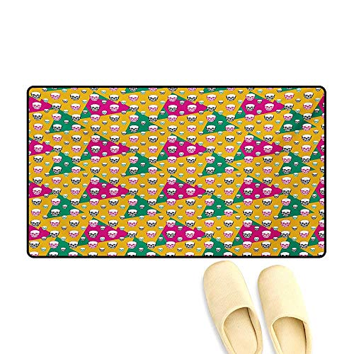 Bath Mat,Head Bones Print on Colorful Geometric Triangle Background,Customize Door Mats for Home Mat,Earth Yellow Jade Green and Pink,32