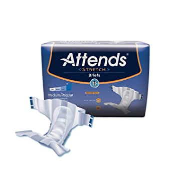 Attends Stretch Briefs with Advanced Dry-Lock Technology for Adult Incontinence Care, Medium/