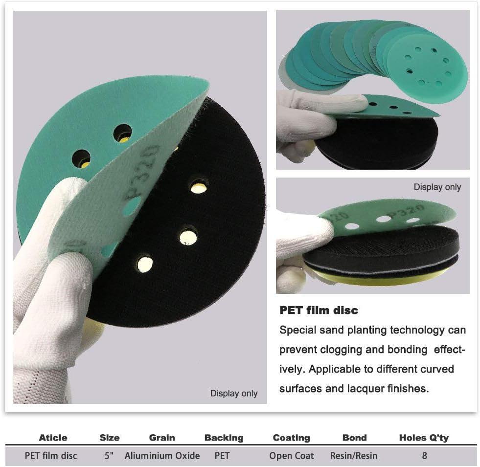 LCDIEB Sandpaper 50Pcs 5 Inch 125mm 8 Holes Sandpaper 60 to 2000 Grits Hook and Loop Green Film Sanding Disc,60 80