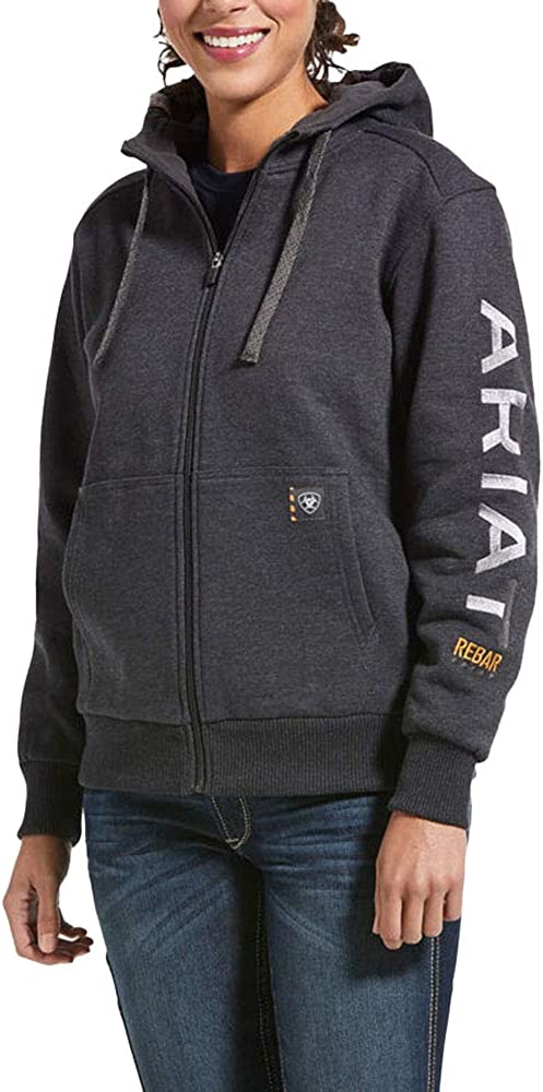 ARIAT Womens Charcoal Heather Rebar All-Weather Zip Hoodie Charcoal Small