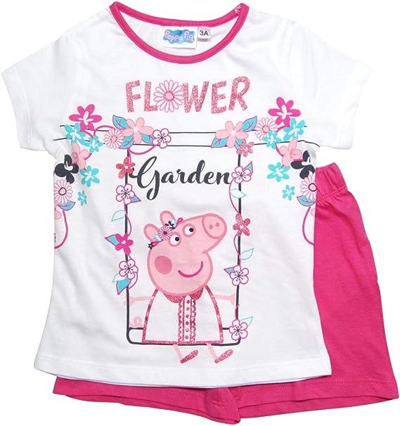Peppa Pig Pig Pig - Pijama Corto para niña Color Blanco y Fucsia ...