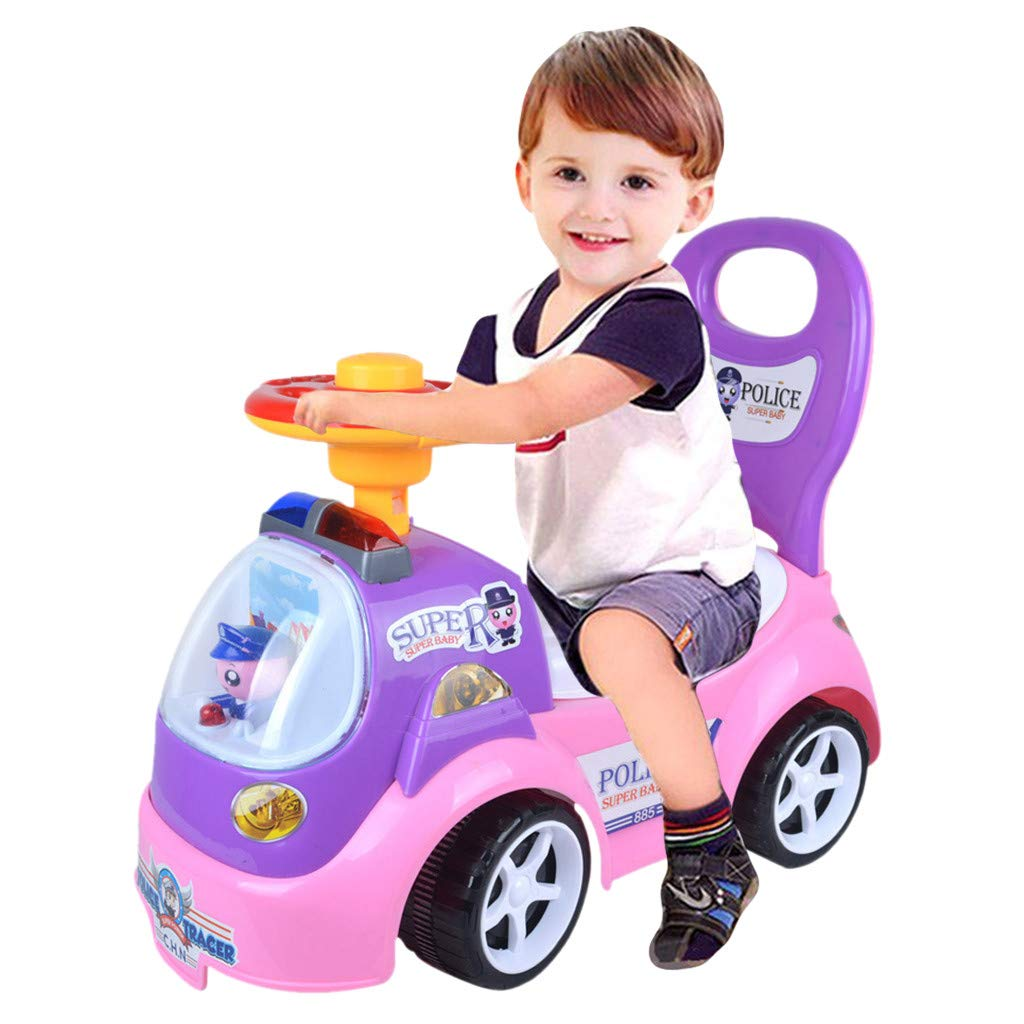 AMOFINY Baby Toys Baby Walking Scooter Backrest Excavator Ride On Toy Kids Car Push Along Children Bike Toddler Walker Baby Balance Toys