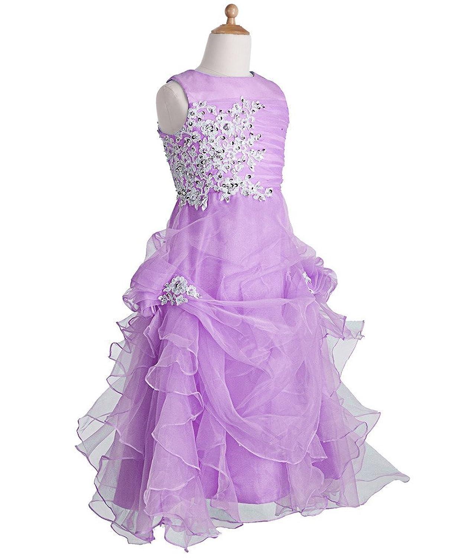FAIRY COUPLE Girl's Ruffled Applique Flower Girl Communion Pageant Dress  K0073: Amazon.co.uk: Clothing
