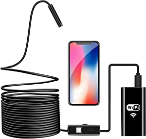 Wireless Endoscope, WiFi Borescope Inspection Camera 2.0 Megapixels HD Waterproof Snake Camera Pipe Drain with 8 Adjustable Led for Android & iOS Smartphone iPhone Samsung Tablet-16.4 ft (5M)