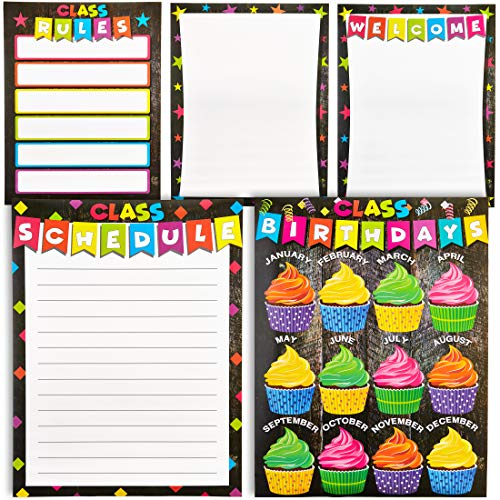 - Classroom Poster - 5-Pack Classroom Essentials Charts with Welcome, Classroom Schedule, Rules, Birthdays, and Blank One for Teachers, Kindergarten, Elementary, Middle School, 157GSM, 17 x 22 Inches
