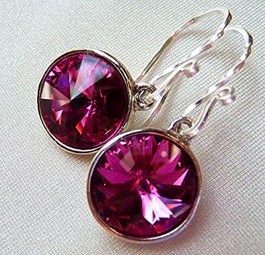 a5da62c6b Magenta Fuchsia Swarovski Crystal Earrings, Hot Pink Rivoli Teardrop  Earrings, Sterling Silver. Loading Images.
