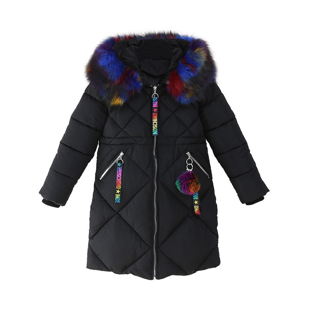 OCHENTA Girls' Puffer Down Coat Winter Jacket with Faux Fur Trim Hood Black Tag 160-9/10 Years