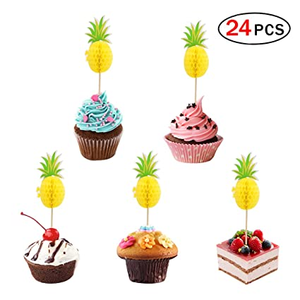Amazon Pineapple Cake Topper Set Of 24 Cupcake Toppers For