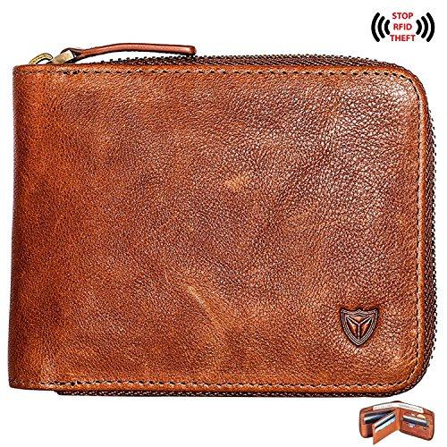 RFID Men's Leather Zipper wallet Zip Around Wallet Bifold Multi Card Holder Purse (Brown)