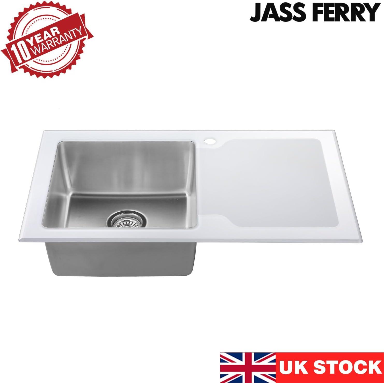 JASS Ferry color blanco Fregadero de cocina acero inoxidable, 1 cuenco grande, con colador, 860 x 500 mm