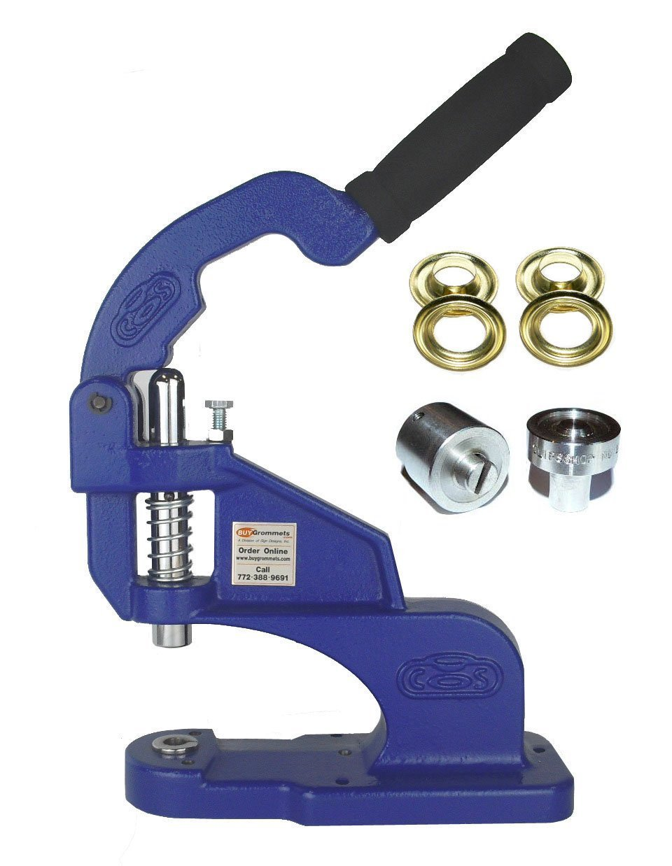 ClipsShop CSTEP-2 Grommet Machine Complete Kit Includes #3 7/16'' Brass Grommets Qty 500 & #3 7/16'' Stainless Steel Die Set
