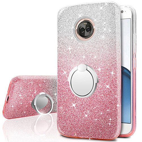 Moto X4 Case, Silverback Girls Bling Glitter Sparkle Case with 360 Rotating Ring Stand, Soft TPU Outer Cover + Hard PC Inner Shell Skin for Motorola Moto X4 Case 2018 -Pink