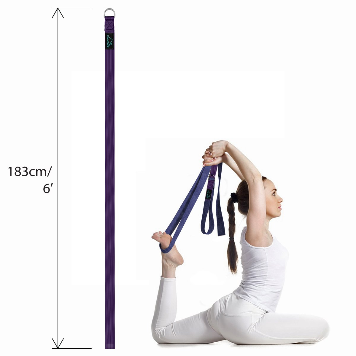 CampTeck Cinta Yoga Anillo D Poliéster Ajustable Yoga Strap de Estiramiento para Posturas, Flexibilidad, Alineación, Resistencia para Pilates, Yoga, ...