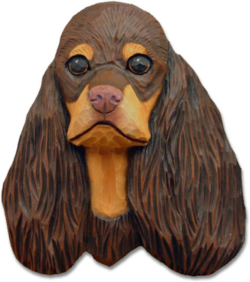 English Cocker Spaniel Head Plaque Figurine Black