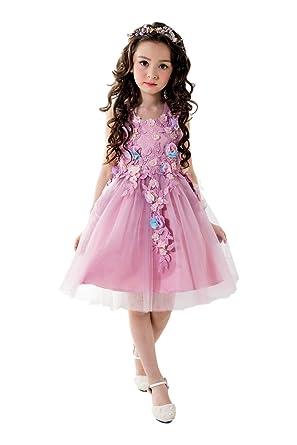 3542f53d6e393  eones ドレス 子供 フォーマルドレス 子供服 ワンピース 花刺繍 ローズピンク 花柄