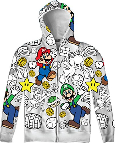 Nintendo-Super-Mario-Luigi-Allover-Mens-Zip-Up-Adult-Hooded-Sweatshirt-Hoodie