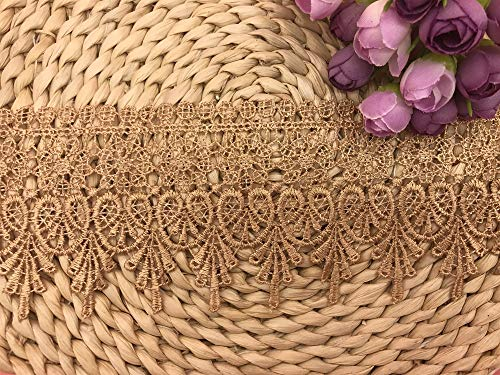 Pattern Gold Trim - 9CM Width Europe Chips Pattern Inelastic Embroidery Lace Trim,Curtain Tablecloth Slipcover Bridal DIY Clothing/Accessories.(2 Yards in one Package) (Gold)