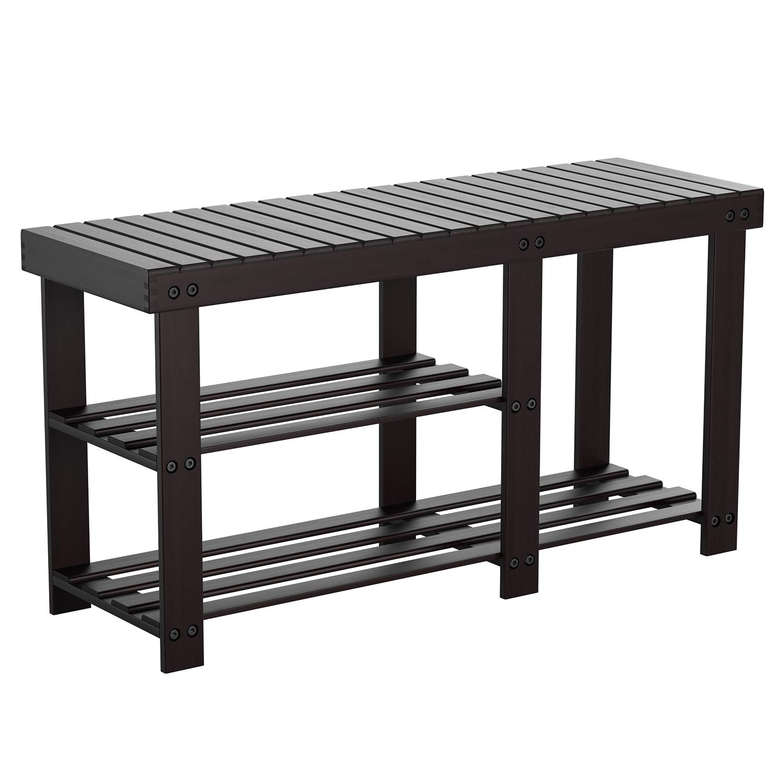 HOMFA Bamboo Shoe Rack Bench 3-Tier, Entryway Storage Organizer with Seat, Shoe Shelf for Boots, Multi Function Furniture for Hallway, Bathroom, Living Room, Corridor Dark Brown