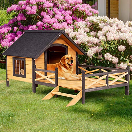 Tangkula Wood Dog House, Cabin Style Large Elevated Weather Waterproof Outdoor Pet Dog House, Lodge with Porch, Spacious Deck for Sunny Nap, Wooden Pet Dog House by Tangkula (Image #4)