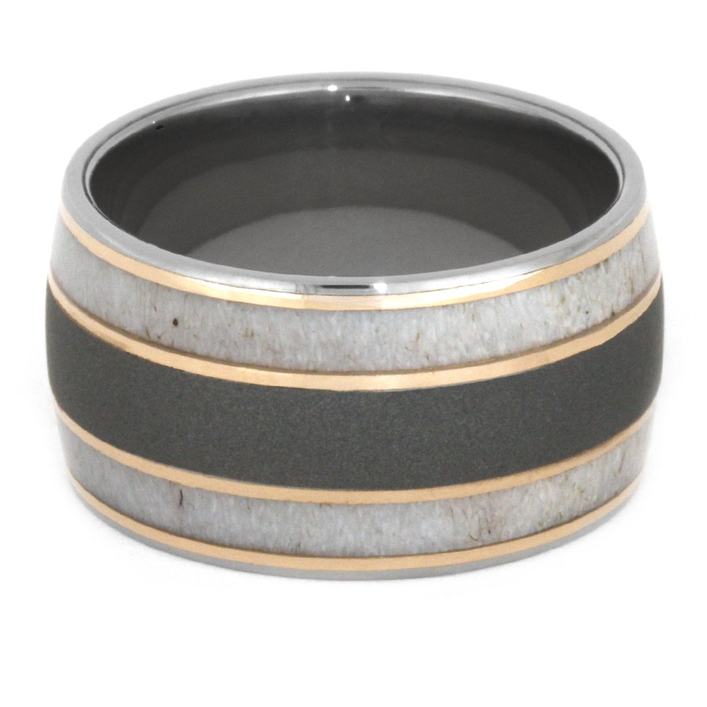 Deer Antler, 14k Rose Gold 9mm Comfort-Fit Sandblasted Titanium Wedding Band, Size 9.5 by The Men's Jewelry Store (Unisex Jewelry) (Image #3)