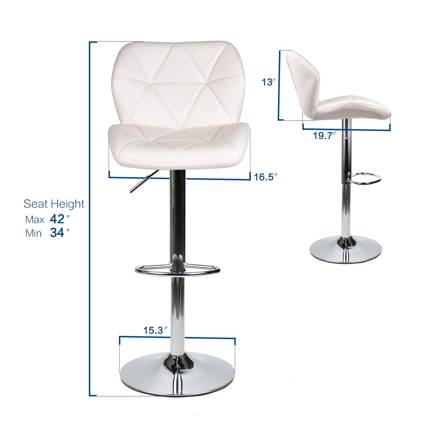 YOURLITE Pub Table Set 3 Piece 24 inch White Wood Round Table with 2 Leatherette Chairs Height Adjustable White Barstools and Marble Stripe Pub Table