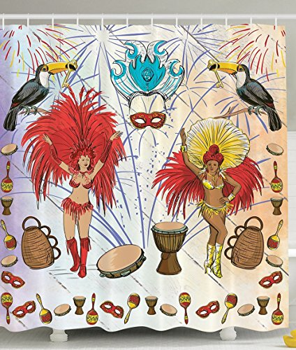 Brazilian Carnival Costumes in Rio Samba Dance Decor Bathroom Decorations Drums and Key Holder Parrots Palms Party Masks Gifts for Dancer Women Men Shower Curtain with Free Hooks Set Red Yellow
